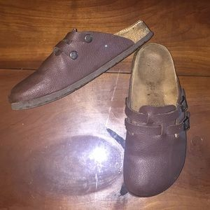 Chocolate Brown Leather Birk Clogs